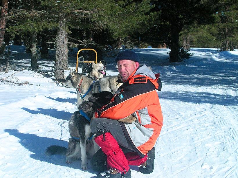 Eric Damestoy avec ses chiens